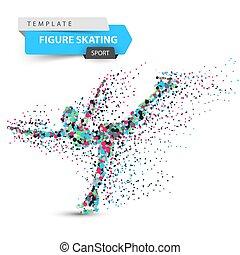 スケート, illustration., 数字, -, スポーツ, template., 点