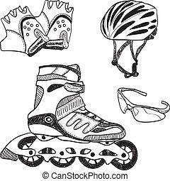 スケート, syle, いたずら書き, -, 装置, ローラー