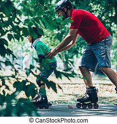 スケート, teching, 父, ローラー, 息子
