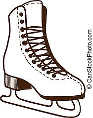 スケート, white., 氷, 隔離された