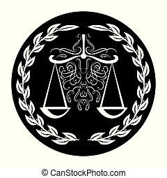 スケール, バックグラウンド。, 正義, 花輪, weigther, 印, arbitrate., 黒, 弁護士, 月桂樹