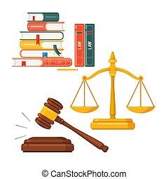 スケール, 小槌, 正義, set., ベクトル, 法律, 弁護士, 本, 裁判官, 概念, アイコン