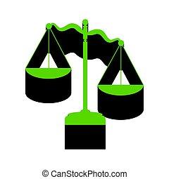 スケール, 正義, 印。, 黒, vector., 緑, 3d, 側, アイコン