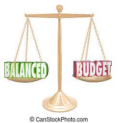 スケール, 財政, 収入, 同輩, 予算, コスト, 言葉, バランスをとられた, 3d