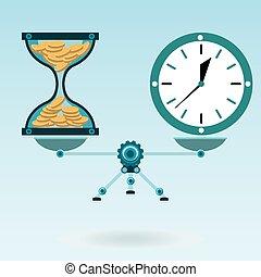 スケール, bank., 金, 時計, コイン, お金。, balance., 堆積, 時間, 腕時計, 砂時計