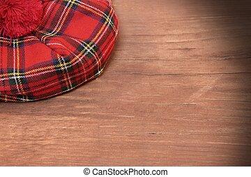 スコットランド, 板, 伝統的である, 木, 赤, ボンネット, tartan