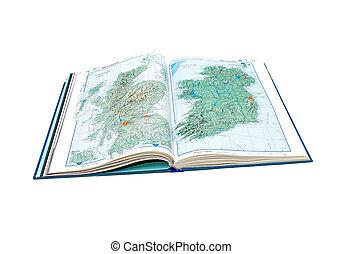 スコットランド, ireland., 世界, 開いた, ページ, atlas.