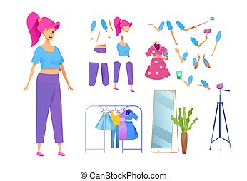 スタイリスト, blogger, ファッション, ベクトル, 女の子, 若い, 衣装