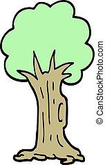 スタイル, いたずら書き, 木, 手, 引かれる, 漫画