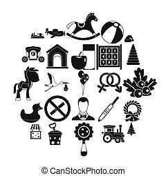 スタイル, おもちゃ, アイコン, セット, 単純である, 子供