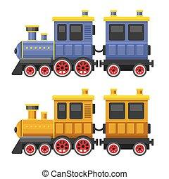 スタイル, おもちゃ, 単純である, set., 色, ベクトル, 列車, ワゴン