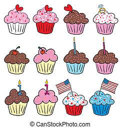 スタイル, かわいい, cupcakes, 多数