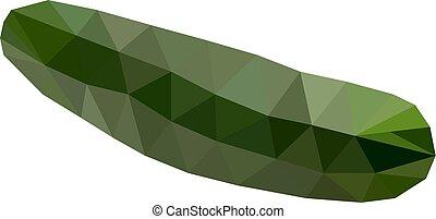 スタイル, きゅうり, 現代, ベクトル, 緑, polygonal