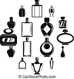 スタイル, びん, アイコン, セット, 香水, 単純である