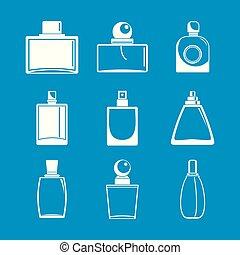 スタイル, びん, アイコン, セット, 香水, 単純である, 芳香