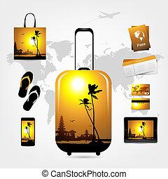 スタイル, もの, 旅行, トロピカル, スーツケース, 旅行