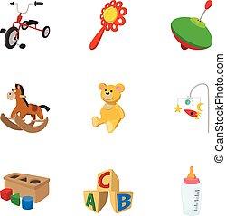 スタイル, アイコン, セット, おもちゃ, 漫画, タイプ