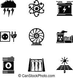 スタイル, アイコン, セット, エネルギー源, 単純である