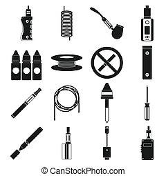 スタイル, アイコン, セット, タバコ, 電子, 単純である