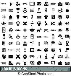 スタイル, アイコン, セット, バス, 単純である, 100