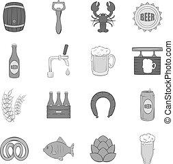 スタイル, アイコン, セット, ビール, 黒, モノクローム