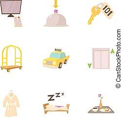 スタイル, アイコン, セット, ホテル, リゾート, 漫画