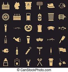 スタイル, アイコン, セット, 単純である, ビール, 休日