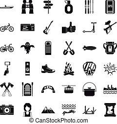 スタイル, アイコン, セット, 単純である, 冒険のスポーツ