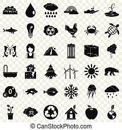 スタイル, アイコン, セット, 単純である, 地球, を除けば