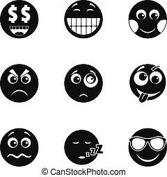 スタイル, アイコン, セット, 単純である, 微笑, emoji