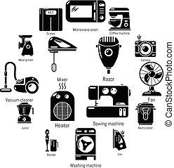 スタイル, アイコン, セット, 国内, 単純である, 器具