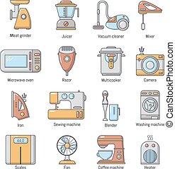 スタイル, アイコン, セット, 国内 電気器具, 漫画
