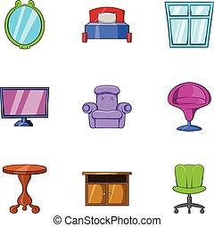 スタイル, アイコン, セット, 家, 漫画, 家具