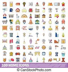スタイル, アイコン, セット, 家, 100, 漫画