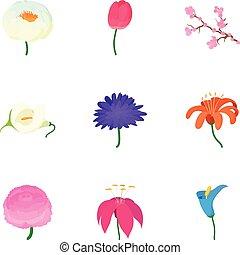 スタイル, アイコン, セット, 春の花, 漫画