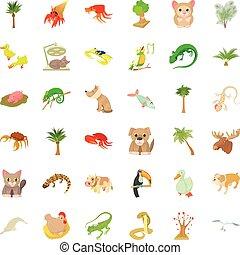 スタイル, アイコン, セット, 植物, 砂, 漫画