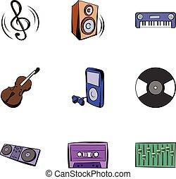 スタイル, アイコン, セット, 漫画, 音楽, 遊び
