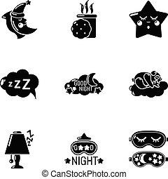 スタイル, アイコン, セット, 甘い, 単純である, 睡眠