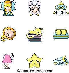 スタイル, アイコン, セット, 甘い, 睡眠, 漫画