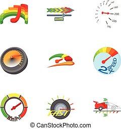 スタイル, アイコン, セット, 速度計, 漫画, タイプ