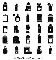 スタイル, アイコン, セット, 防臭剤, 単純である, スプレー