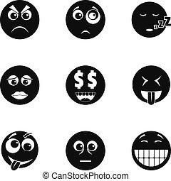 スタイル, アイコン, セット, 顔, 単純である, emoji