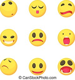 スタイル, アイコン, セット, 顔, 微笑, 悲しい, 漫画