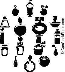 スタイル, アイコン, セット, 香水, 単純である, びん
