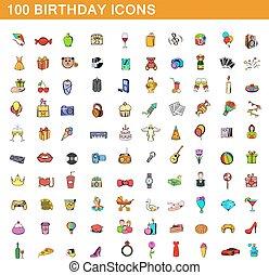 スタイル, アイコン, セット, birthday, 100, 漫画
