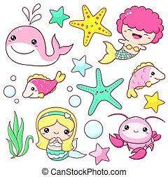 スタイル, アイコン, セット, kawaii, mermaid