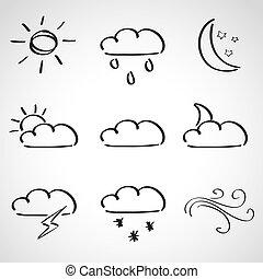 スタイル, アイコン, 天候, -, セット, スケッチ, インク