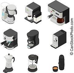 スタイル, アイコン, 等大, メーカー, セット, コーヒー