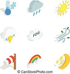 スタイル, アイコン, 等大, 予報, 天候, 3d