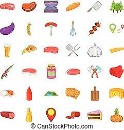スタイル, アイコン, 食物, セット, バーベキュー, 漫画